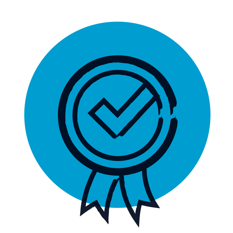 blue print guaranteed logo of rosette with tick illustration