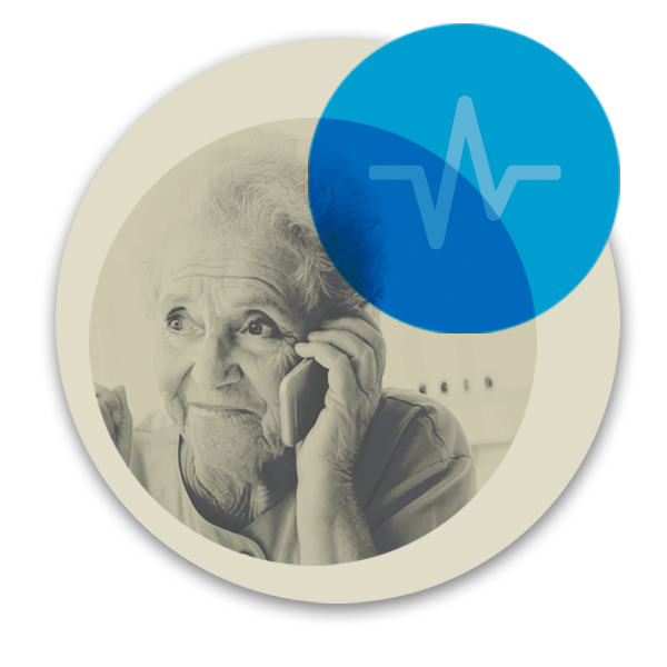 Circular illustration of older woman using assisted mobile phone