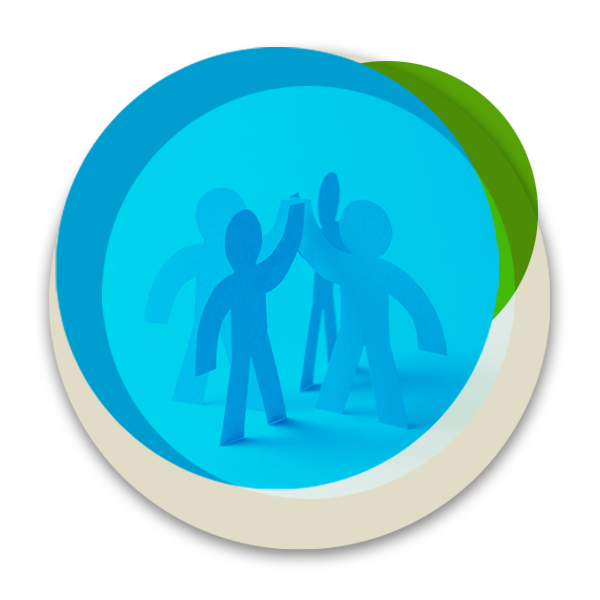 Circular illustration with four cutout people representing partnerships