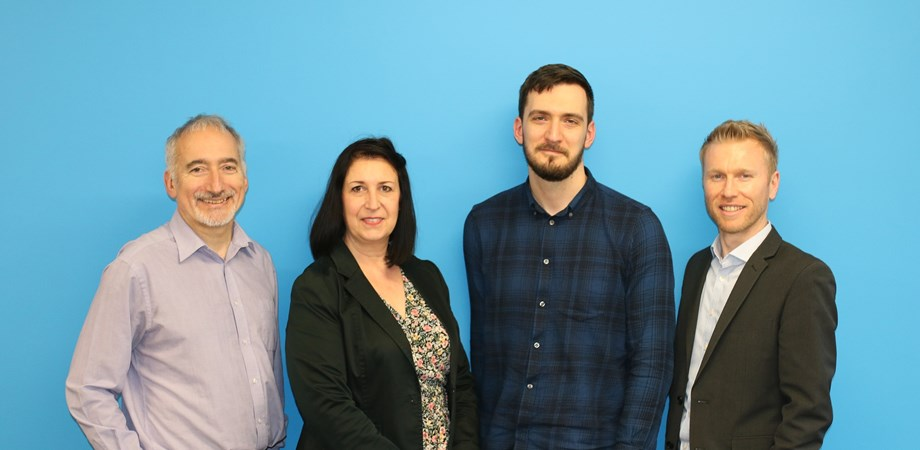 A photo of Neal, Helen, George and Alistair our four new starters