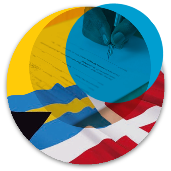 Circular illustration with maritime flag and legacy paperwork