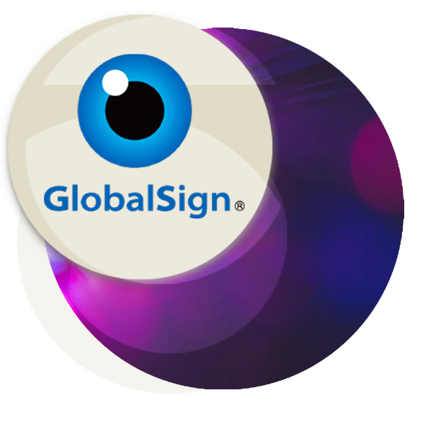 Circular illustration with GlobalSign logo